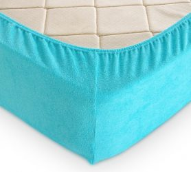 Простыня махровая на резинке (голубая) 160х200х30