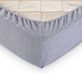 Простыня махровая на резинке (серая) 180х200х30