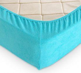 Простыня махровая на резинке (голубая) 200х200х30
