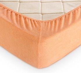 Простыня махровая на резинке (персиковая) 200х200х30