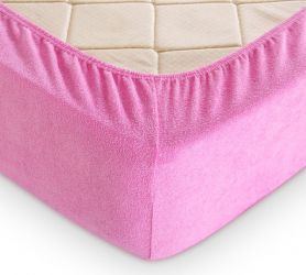 Простыня махровая на резинке (розовая) 200х200х30